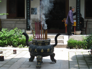 In een tempel boven op Mount Tai Shan